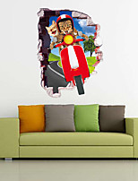 Cartoon Cat Ride Wall Stickers Home Decor Kids Rooms Children Kindergarten Art Mural Removable Pvc Wall Sticker