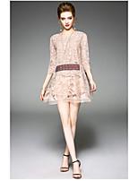 Ample Gaine Robe Femme QuotidienCouleur Pleine Col Arrondi Au dessus du genou Manches 3/4 Polyester Eté Taille Haute Micro-élastique Fin