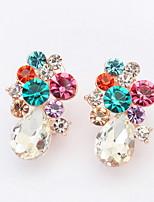 Mulheres Para Meninas Brincos Curtos Brincos Set Imitação de Diamante GemaBásico Circular Original Gemas Amizade Jóias de Luxo Estilo