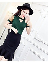 Women's Casual/Daily Simple Street chic Blouse Skirt Suits,Solid Round Neck Short Sleeve