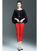 Mujer Sencillo Sofisticado Casual/Diario Primavera Verano Blusa Pantalón Trajes,Escote Redondo Un Color