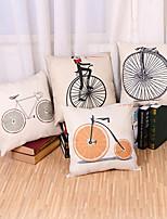 Set Of 4 Creative Fruit Bicycle Pattern Pillow Cover Cotton/Linen Pillow Case