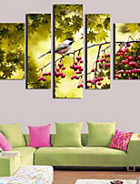 Art Print Animal Pastoral Five Panels Horizontal Print Wall Decor For Home Decoration