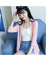 Women's Other Casual Regular Cardigan,Solid Round Neck 3/4 Length Sleeve Cotton Spring Thin Micro-elastic