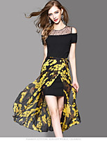 OYCP Women's Daily Contemporary Summer Blouse Skirt SuitsSolid Floral Round Neck Short Sleeve