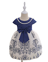 Girl's Fashion Print Embroidered Dress,Cotton Summer Short Sleeve