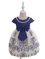 Девичий Платье Хлопок Мода Вышивка С принтом Лето С короткими рукавами