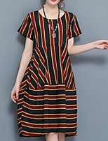 Women's Plus Size Casual/Daily Work Vintage Boho Chinoiserie Loose Dress,Striped Round Neck Knee-length Short Sleeve Others SummerHigh