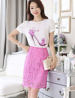 Women's Going out Casual/Daily Simple Cute Shirt Skirt Suits,Solid Print Round Neck Short Sleeve Inelastic