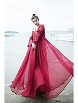Balançoire Robe Femme Décontracté / QuotidienCouleur Pleine Col en V Maxi Manches Longues Polyester Eté Taille Basse Non Elastique Fin
