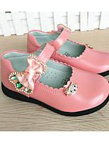 Girls' Flats Comfort PU Cowhide Spring Fall Outdoor Casual Walking Magic Tape Low Heel Blushing Pink Ruby Flat