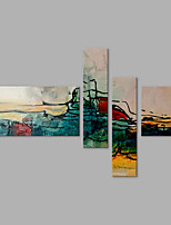 4 Panels Abstract Color and Line Oil Painting On Canvas Hand Painted Art for Modern Wall Decoration