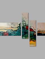 Pintados à mão Abstrato qualquer Forma,Contemprâneo Artistíco Abstracto 4 Painéis Tela Pintura a Óleo For Decoração para casa