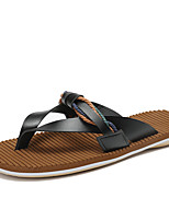 Men's Slippers & Flip-Flops Comfort Light Soles Leather Summer Outdoor Casual Water Shoes Flat Heel Brown Black White Flat