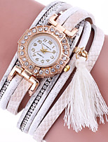Women's Quartz Rhinestone Leather Band Bohemian Tassel Casual Bracelet Watch