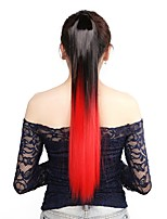 Neitsi 1Pcs 22'' 115g Striaght Wrap Around Ponytail Hair Extensions Synthetic Ombre T-Red#