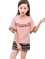 Girl Casual/Daily Plaid Sets,Cotton All Seasons Long Sleeve Clothing Set