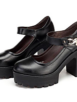 Women's Heels Formal Shoes Leather Spring Fall Casual Formal Shoes Chunky Heel Black 5in & over