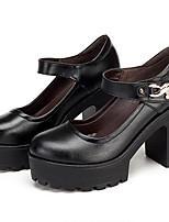 Damen High Heels formale Schuhe Leder Frühling Herbst Normal formale Schuhe Blockabsatz Schwarz 12 cm & mehr