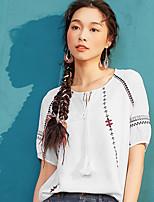 Damen Solide Stickerei Retro Einfach Lässig/Alltäglich T-shirt,V-Ausschnitt Polyester