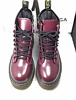 Women's Boots Comfort PU Leather Spring Casual Burgundy Light Brown Black Flat