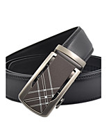 Men's Simple Business Striped Black Genuine Leather Alloy Automatic Buckle Waist Belt Work/Casual/Party All Seasons