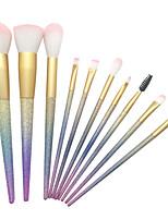 10pçsConjuntos de pincel Pincel para Blush Pincel para Sombra Pincel de Sombrancelha Pincel de Delineador de Olhos Pincel para Corretivo