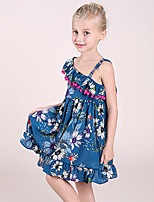 Girl's Fashion Floral Print Dress,Polyester Summer Sleeveless
