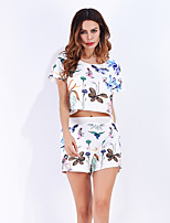 Women's Daily Casual Pants Summer T-shirt Pant Suits,Solid Print Round Neck Short Sleeve Micro-elastic