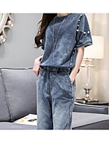 Women's Going out Casual/Daily Simple Chinoiserie T-shirt Pant Suits,Solid Round Neck 1/2 Length Sleeve