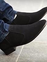 Для мужчин Мокасины и Свитер Удобная обувь Замша Весна Повседневный Черный На плоской подошве