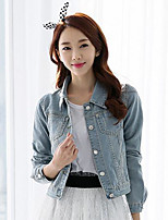 Women's Daily Active Spring Denim Jacket,Solid Shirt Collar Long Sleeve Short Cotton