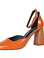 Women's Heels Comfort PU Spring Summer Fall Office & Career Dress Buckle Chunky Heel Blushing Pink Green Red Brown Black 3in-3 3/4in