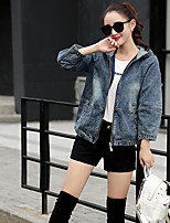Women's Casual/Daily Simple Summer Denim Jacket,Solid Hooded Long Sleeve Regular Linen