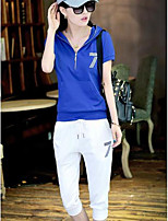 Women's Sports Active Summer T-shirt Pant Suits,Letter Hooded Short Sleeve
