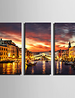 E-HOME Stretched Canvas Art The Lights Of Venice Decoration Painting Set Of 3