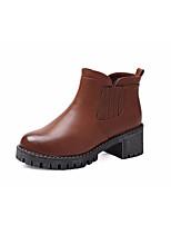 Для женщин Ботинки Удобная обувь Полиуретан Весна Повседневные Удобная обувь Черный Коричневый На плоской подошве