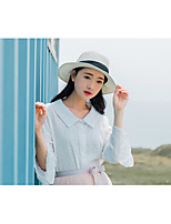 Women's Casual/Daily Simple Spring Summer Shirt,Solid Round Neck Long Sleeve Others Thin