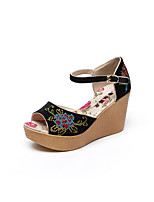 Women's Heels Comfort PU Spring Casual Black Flat