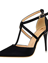 Women's Heels Leatherette Spring Summer Fall Stiletto Heel Gray Brown Ruby Blushing Pink Burgundy 4in-4 3/4in