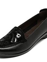 Для женщин Мокасины и Свитер Наппа Leather Кожа Весна Черный Коричневый Миндальный На плоской подошве