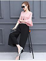 Feminino Japonesa/Curta Calça Conjuntos Casual Simples Verão,Cor Única Decote Redondo Micro-Elástica