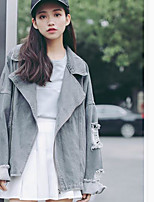 Women's Daily Vintage Spring Denim Jacket,Solid Shawl Lapel Long Sleeve Regular Cotton