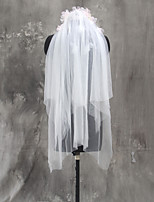 Bride Bridesmaids Beige Wedding Veil Two-tier Elbow Veils Cut Edge Tulle Netting