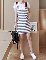 Women's Casual/Daily Cute Summer T-shirt Dress Suits,Striped Round Neck Short Sleeve Micro-elastic