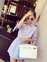Women's Casual/Daily Work Vintage Simple Sheath Dress,Striped Shirt Collar Mini ½ Length Sleeve Others Summer Mid Rise Inelastic Medium
