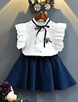 Girls' Solid Color Sets,Cotton Polyester Summer Spring Short Sleeve Clothing Set