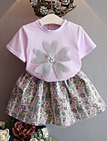 Girls' Flower Sets,Cotton Polyester Summer Spring Short Sleeve Clothing Set