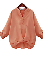 Women's Going out Casual/Daily Work Vintage Cute Spring Blouse,Solid Floral V Neck Long Sleeve Cotton Medium
