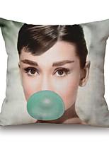 1 Pcs Classic Audrey Hepburn Blow Bubbles Pillow Cover Personality Classic Pillow Case